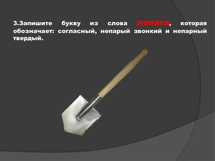Запишите букву из слова лопата, которая обозначает: согласный, непарый звонкий и непарный твердый