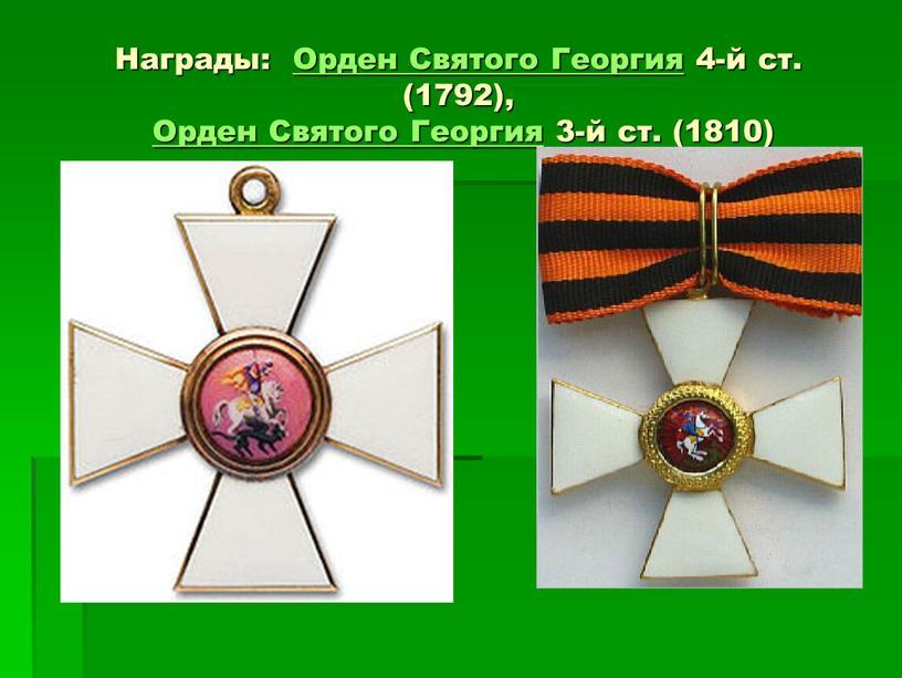 Награды: Орден Святого Георгия 4-й ст