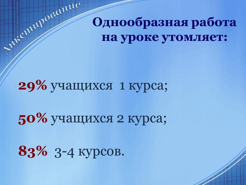 Однообразная работа на уроке утомляет: 29% учащихся 1 курса; 50% учащихся 2 курса; 83% 3-4 курсов