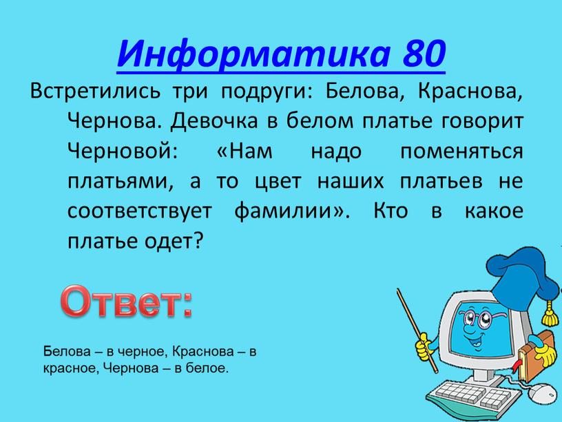Информатика 80 Встретились три подруги:
