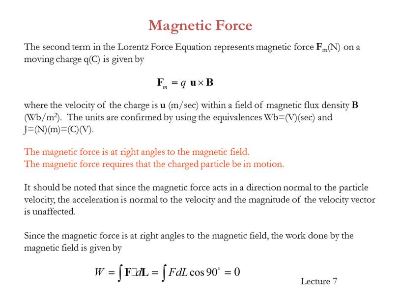 Since the magnetic force is at right angles to the magnetic field, the work done by the magnetic field is given by