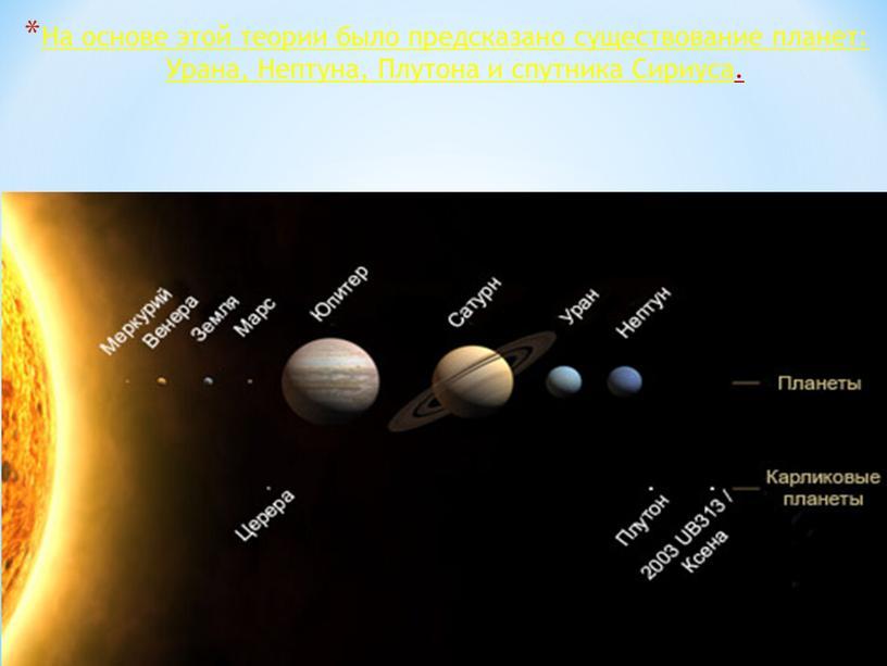 На основе этой теории было предсказано существование планет: