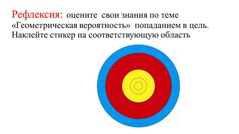 Рефлексия: оцените свои знания по теме «Геометрическая вероятность» попаданием в цель