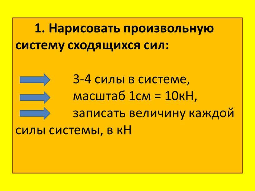 Нарисовать произвольную систему сходящихся сил: 3-4 силы в системе, масштаб 1см = 10кН, записать величину каждой силы системы, в кН