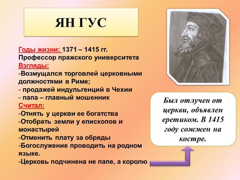 ЯН ГУС Годы жизни: 1371 – 1415 гг