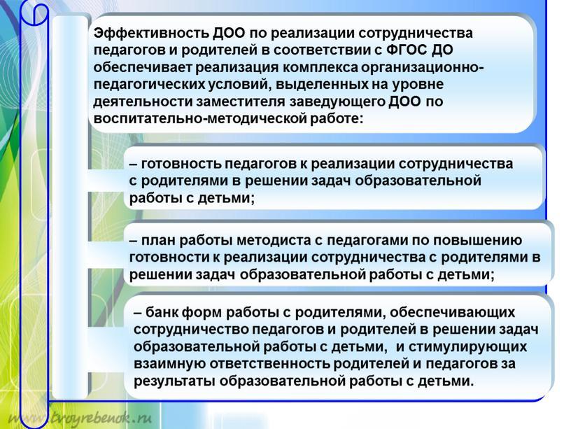 Эффективность ДОО по реализации сотрудничества педагогов и родителей в соответствии с