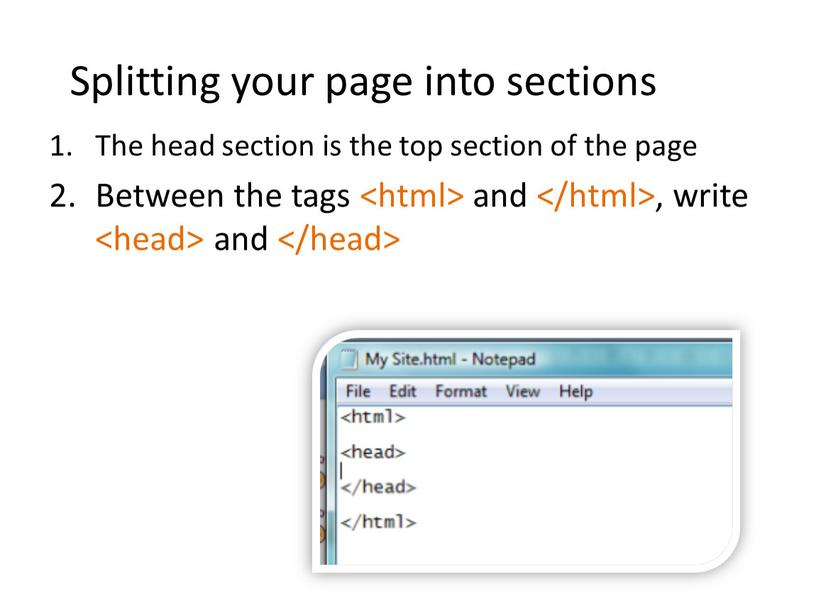 Splitting your page into sections