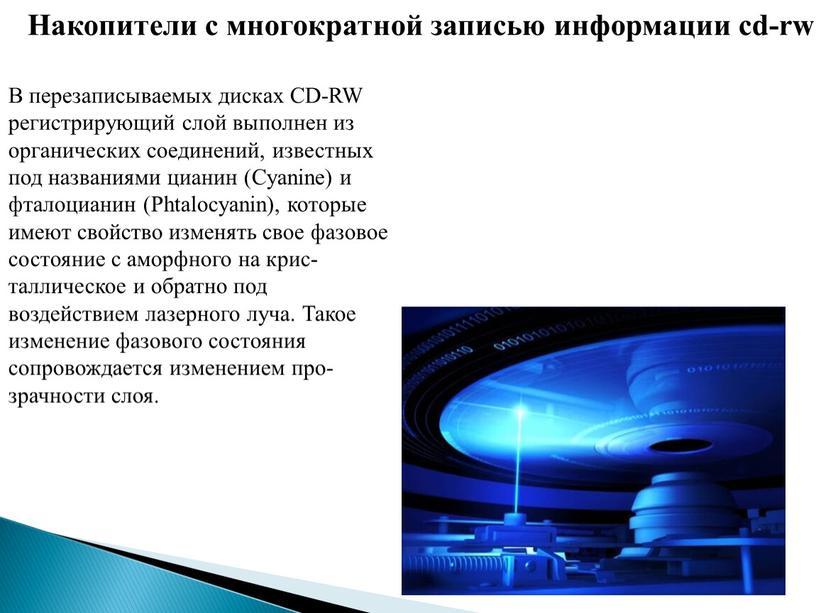Накопители с многократной записью информации cd-rw