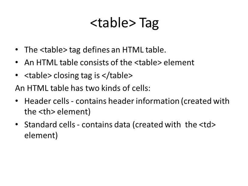 Tag The tag defines an HTML table