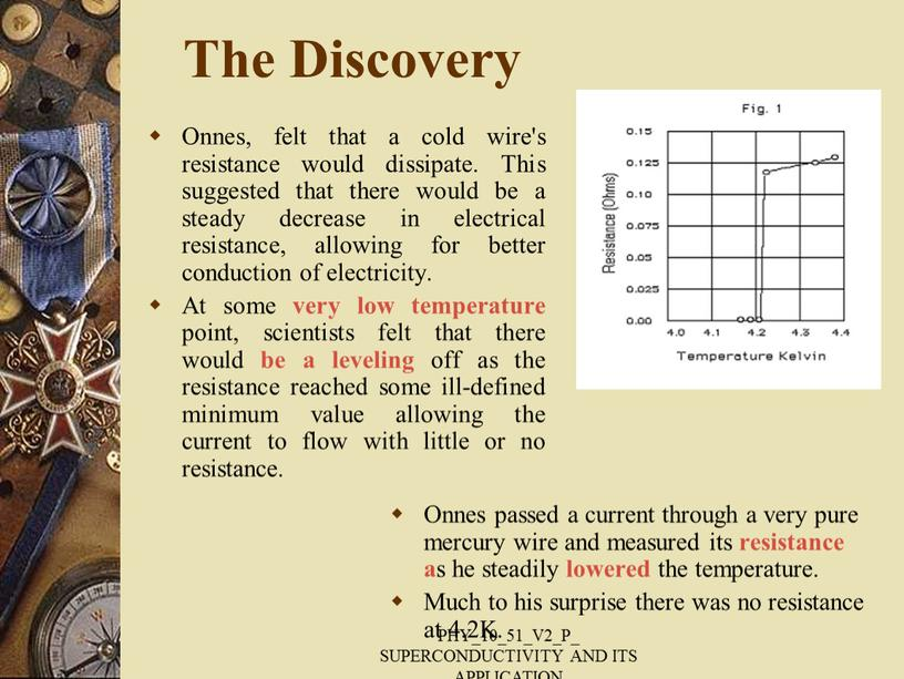The Discovery Onnes, felt that a cold wire's resistance would dissipate
