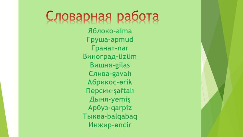Яблоко-alma Груша-apmud Гранат-nar