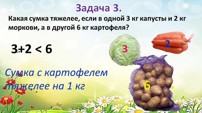 Какая сумка тяжелее, если в одной 3 кг капусты и 2 кг моркови, а в другой 6 кг картофеля? 3+2 < 6