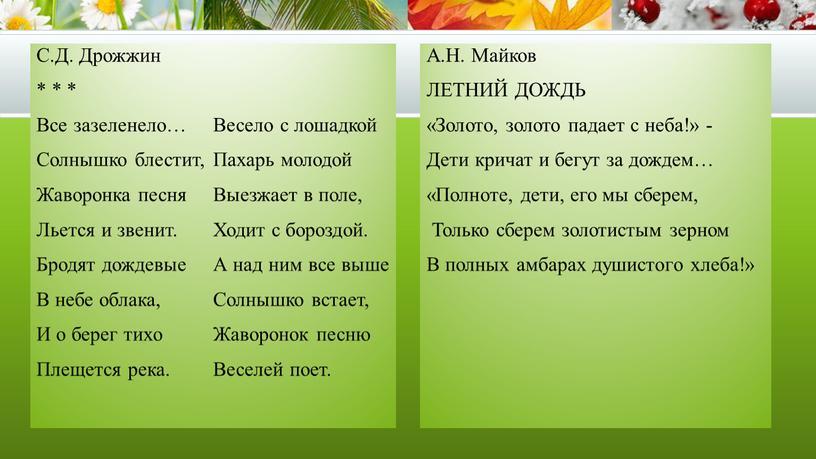 С.Д. Дрожжин * * * Все зазеленело…