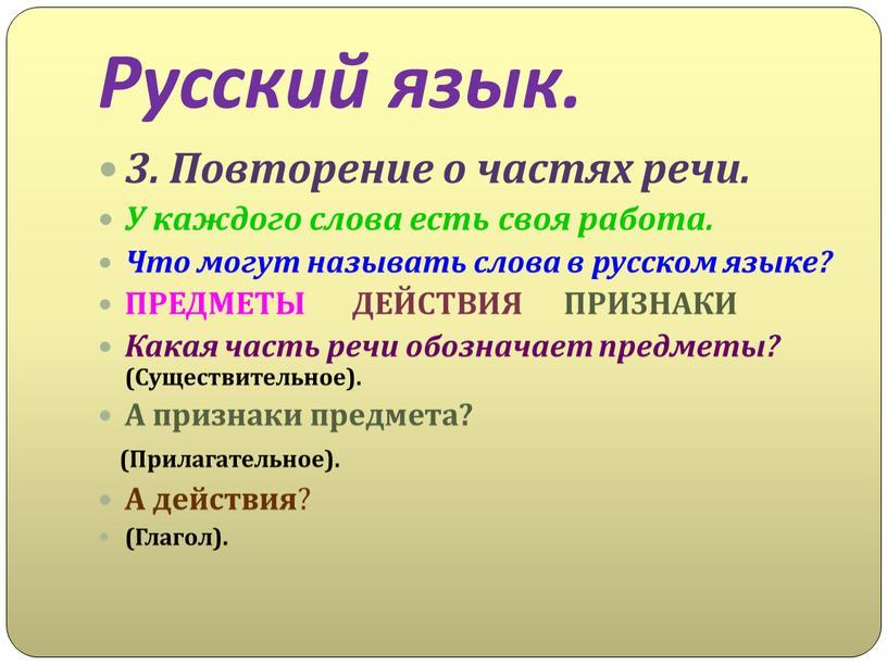 Русский язык. 3. Повторение о частях речи