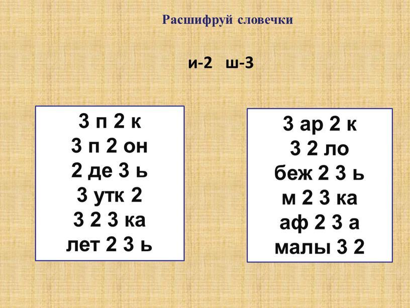 Расшифруй словечки и-2 ш-3 3 п 2 к 3 п 2 он 2 де 3 ь 3 утк 2 3 2 3 ка лет 2…
