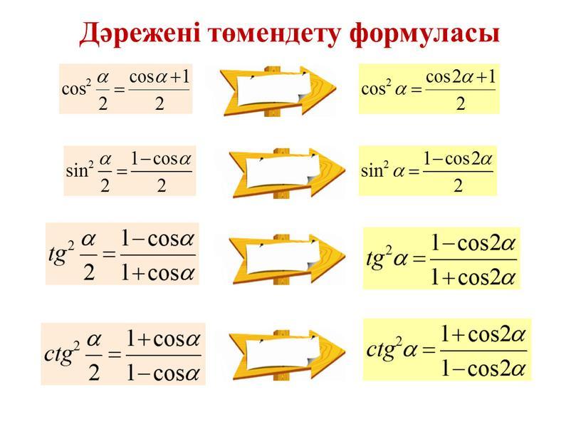 Дәрежені төмендету формуласы