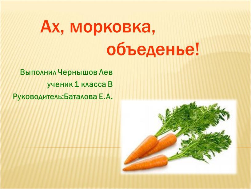 Ах, морковка, объеденье!
