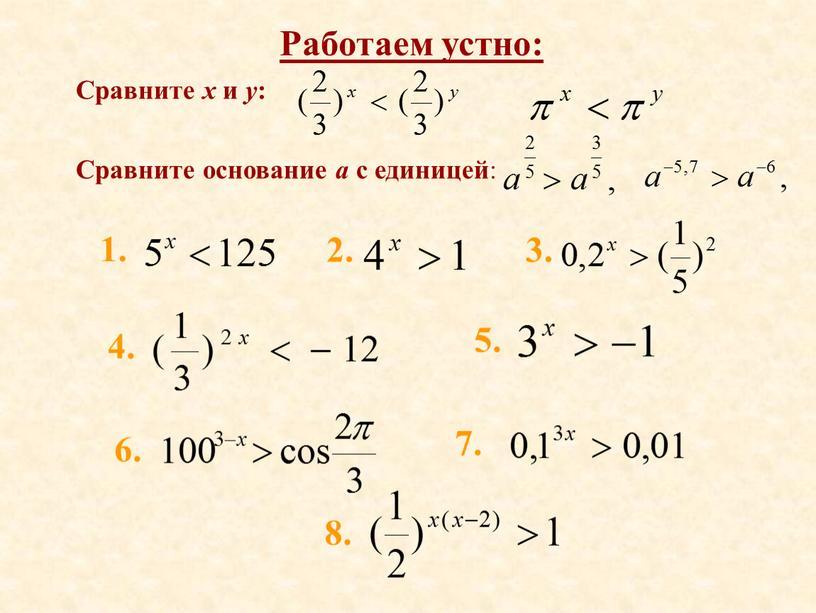 Работаем устно: Сравните x и y :