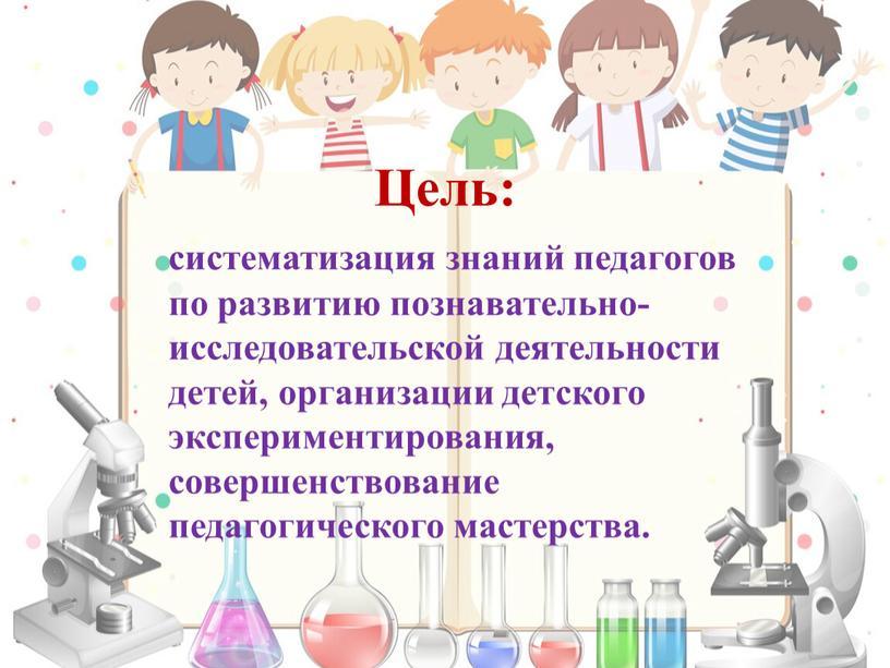 Цель: систематизация знаний педагогов по развитию познавательно-исследовательской деятельности детей, организации детского экспериментирования, совершенствование педагогического мастерства