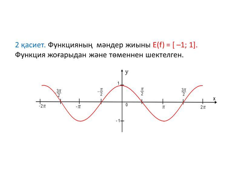 Функцияның мәндер жиыны Е(f) = [ –1; 1]