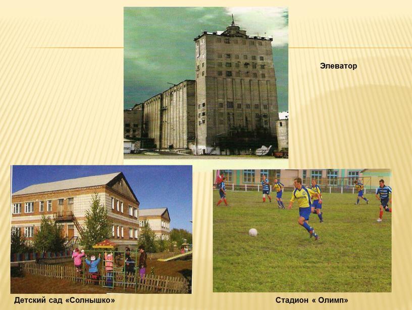 Элеватор Стадион « Олимп» Детский сад «Солнышко»