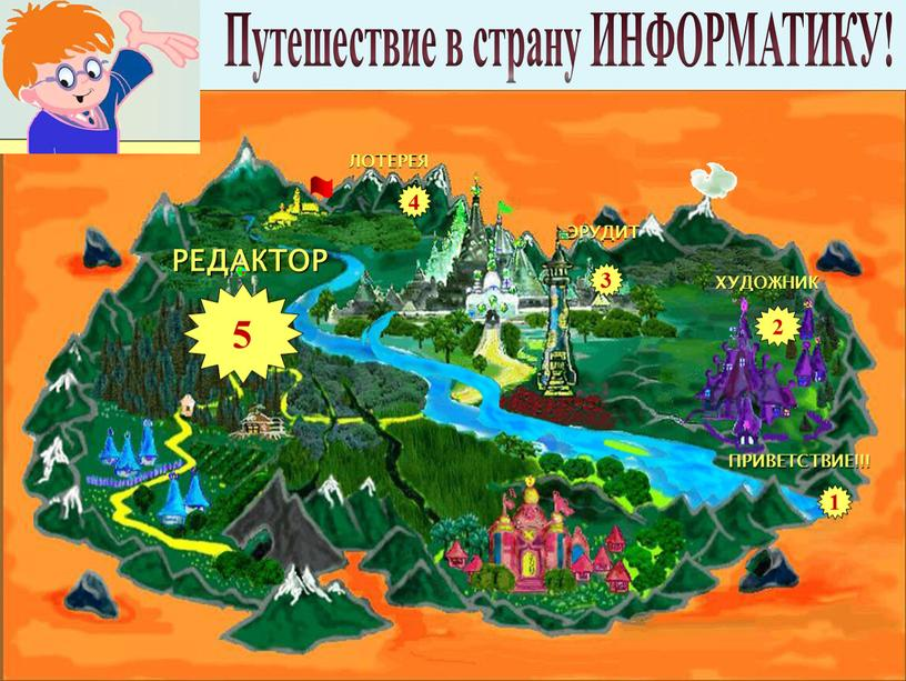 Путешествие в страну ИНФОРМАТИКУ! 3 4 1 5 2