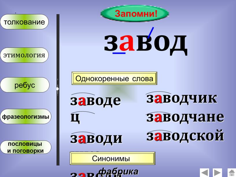 Запомни! завод Однокоренные слова заводец заводишко заводище заводчик заводчане заводской