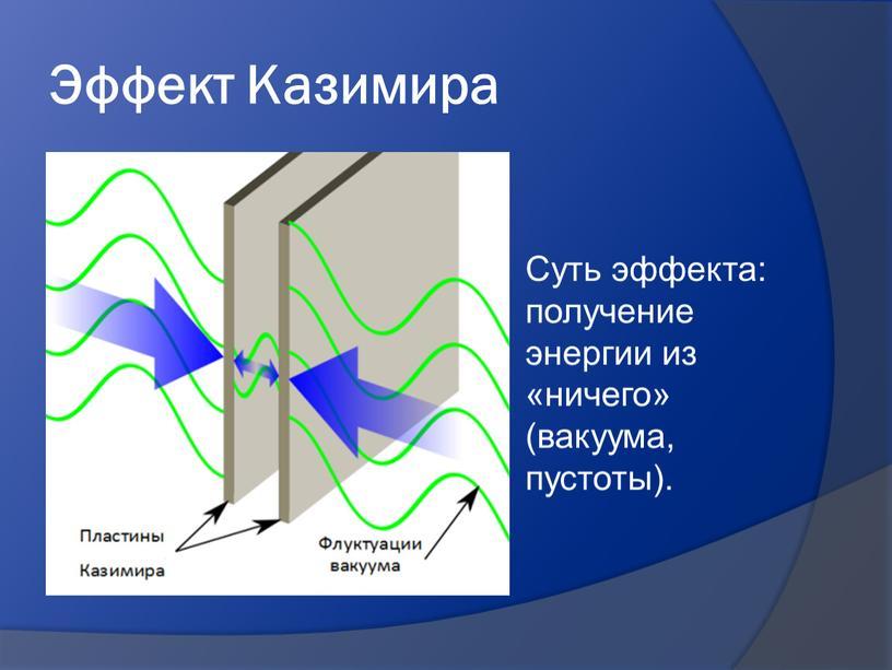 Эффект Казимира Суть эффекта: получение энергии из «ничего» (вакуума, пустоты)