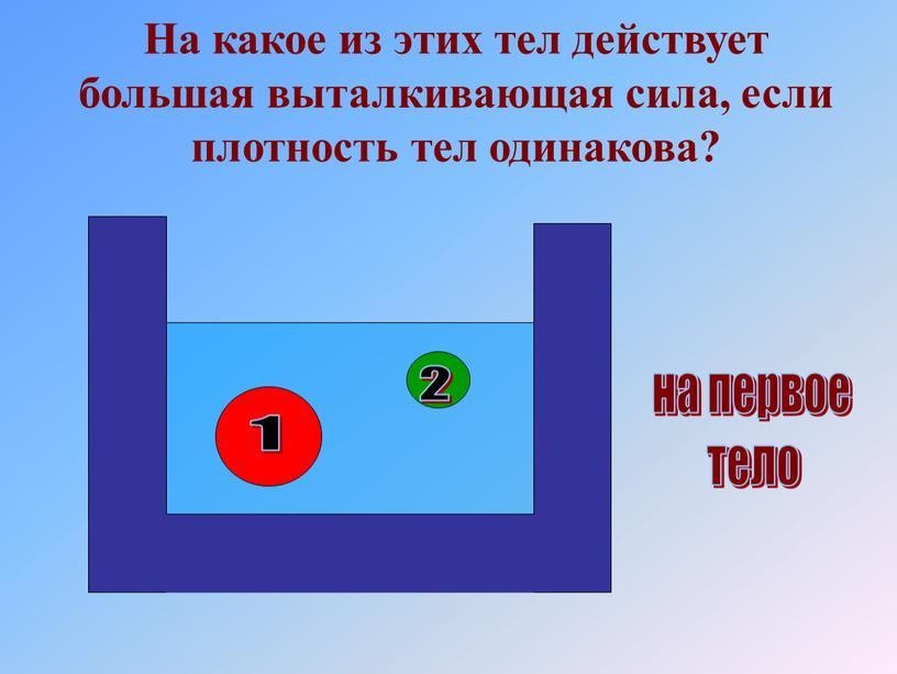 На какое из этих тел действует большая выталкивающая сила, если плотность тел одинакова? 1 2 на первое тело