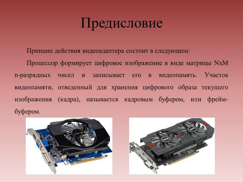 Предисловие Принцип действия видеоадаптера состоит в следующем: