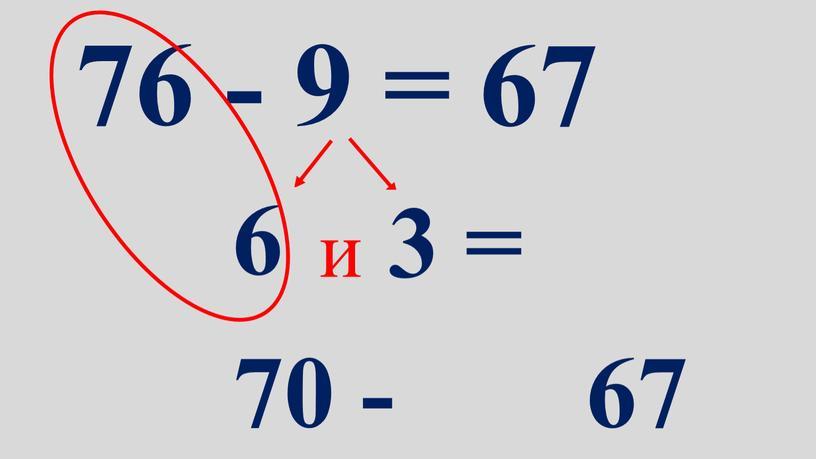 76 - 9 = 67 6 и 3 = 70 - 67