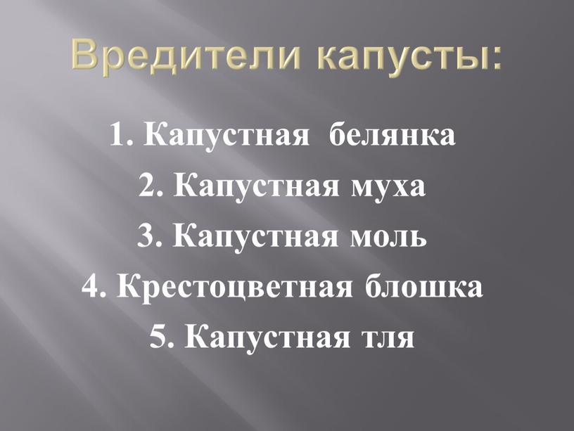 Вредители капусты: 1. Капустная белянка 2