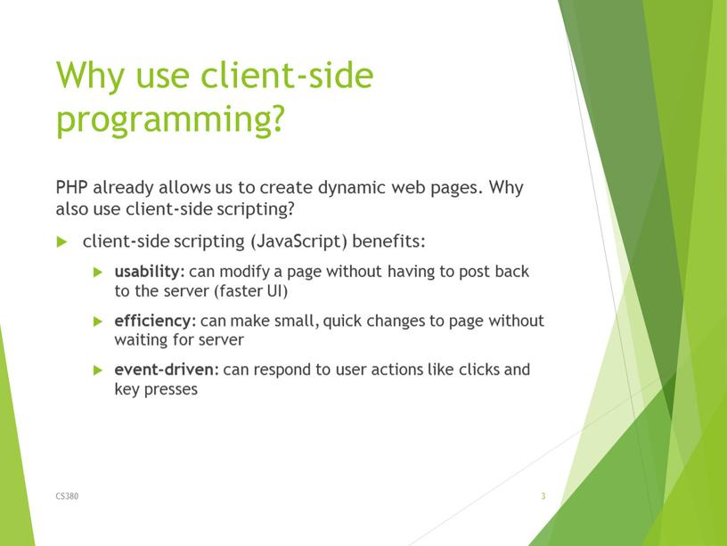 Why use client-side programming?