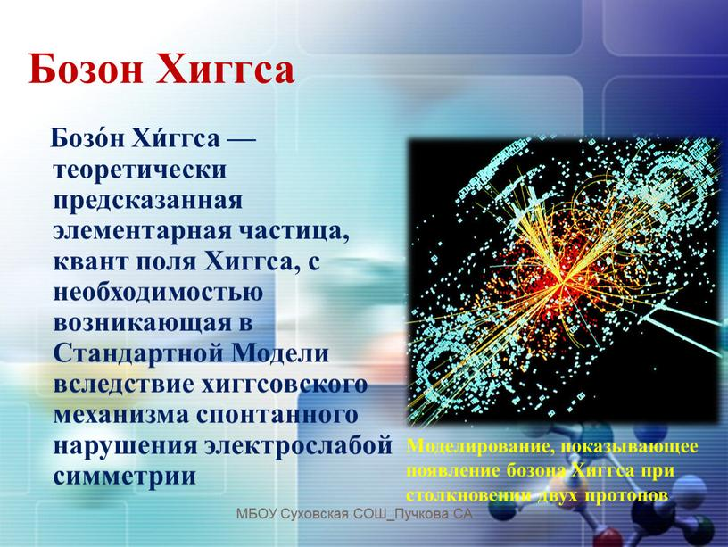 Бозон Хиггса Бозо́н Хи́ггса — теоретически предсказанная элементарная частица, квант поля