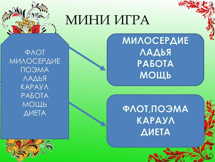 МИНИ ИГРА ФЛОТ МИЛОСЕРДИЕ ПОЭМА