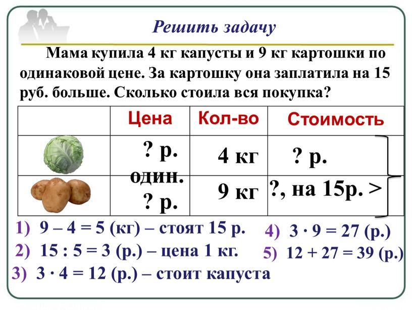 Решить задачу Мама купила 4 кг капусты и 9 кг картошки по одинаковой цене