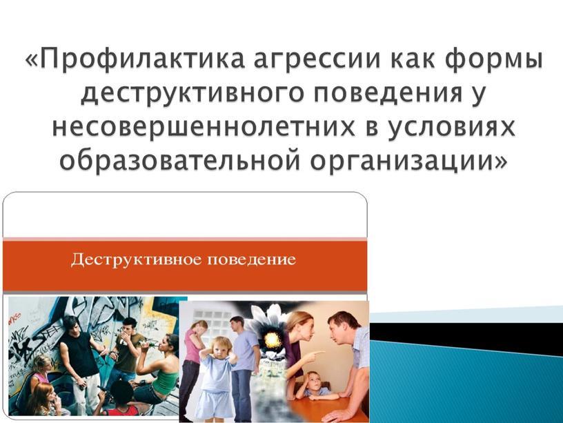 Профилактика агрессии как формы деструктивного поведения у несовершеннолетних в условиях образовательной организации»