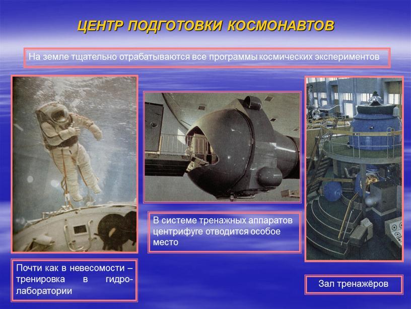 ЦЕНТР ПОДГОТОВКИ КОСМОНАВТОВ Зал тренажёров