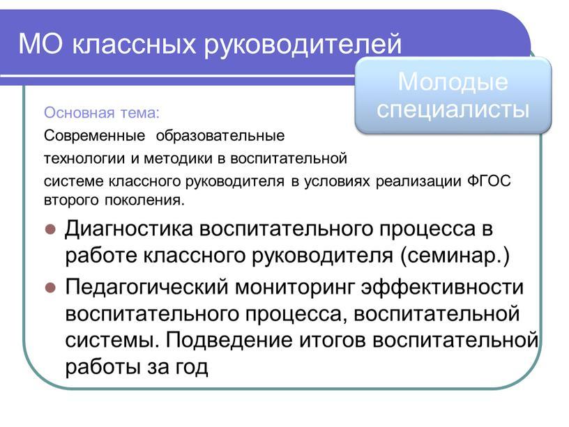 МО классных руководителей Основная тема: