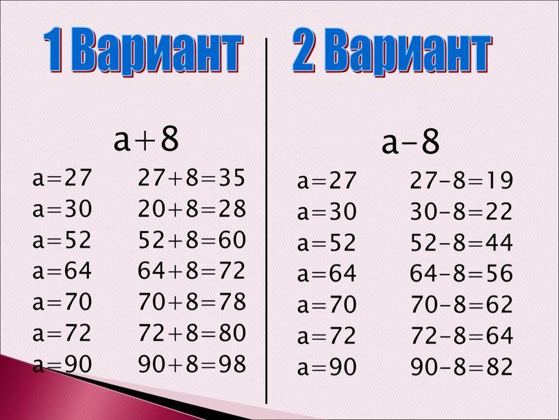 а+8 а=27 27+8=35 а=30 20+8=28 а=52 52+8=60 а=64 64+8=72 а=70 70+8=78 а=72 72+8=80 а=90 90+8=98 а-8 а=27 27-8=19 а=30 30-8=22 а=52 52-8=44 а=64 64-8=56 а=70…