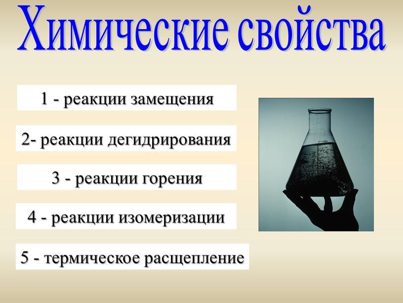 Химические свойства 1 - реакции замещения 2- реакции дегидрирования 3 - реакции горения 4 - реакции изомеризации 5 - термическое расщепление