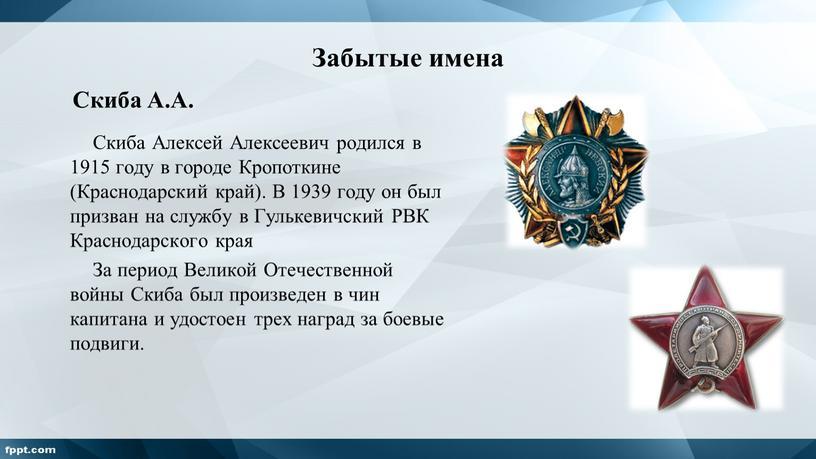 Забытые имена Скиба Алексей Алексеевич родился в 1915 году в городе