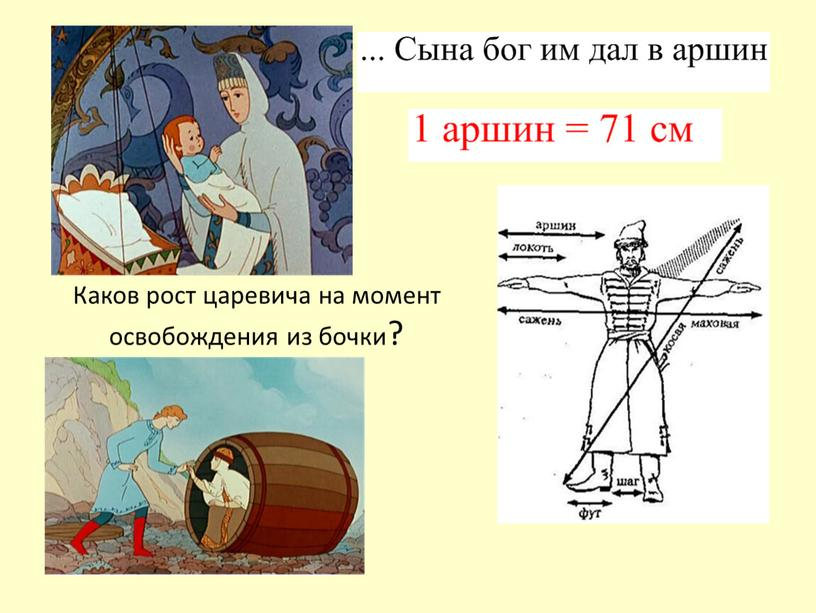Каков рост царевича на момент освобождения из бочки?