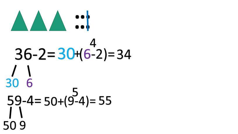 … … 36-2= 30 6 30 + (6-2)= 4 34 59-4= 50 9 50+ (9-4)= 5 55