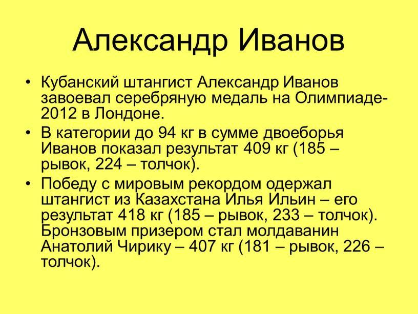 Александр Иванов Кубанский штангист