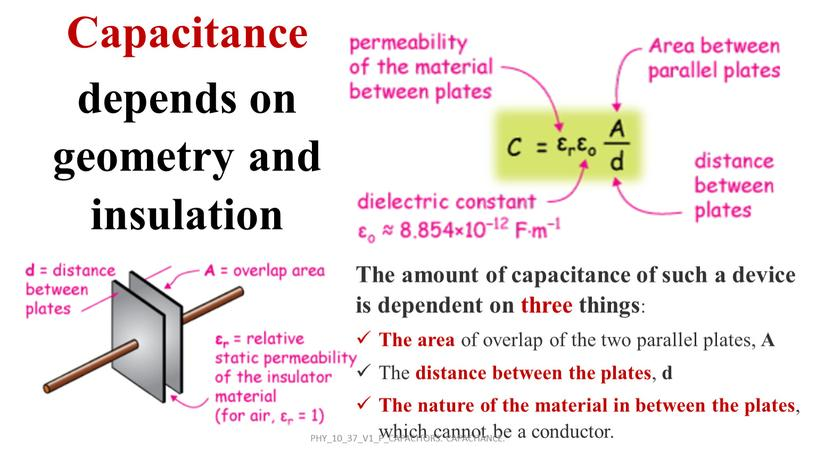 The amount of capacitance of such a device is dependent on three things :