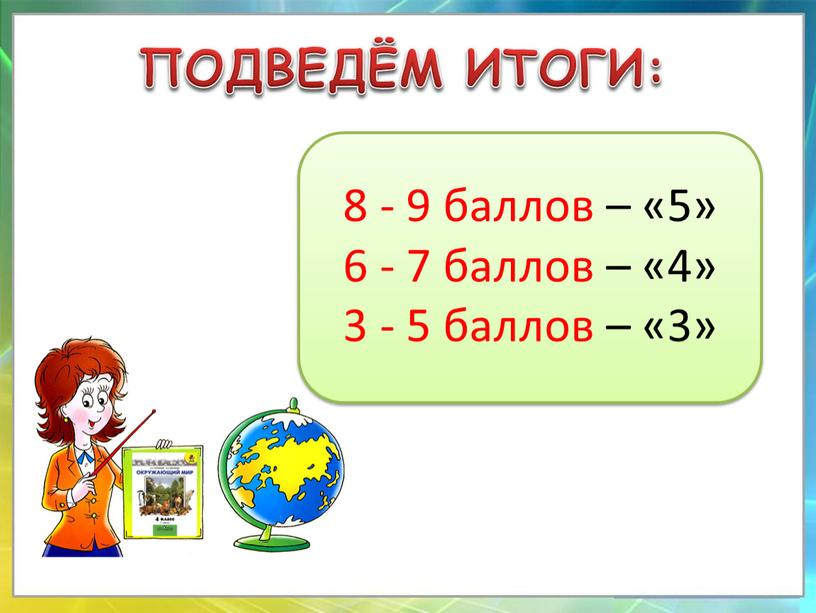 ПОДВЕДЁМ ИТОГИ: 8 - 9 баллов – «5» 6 - 7 баллов – «4» 3 - 5 баллов – «3»