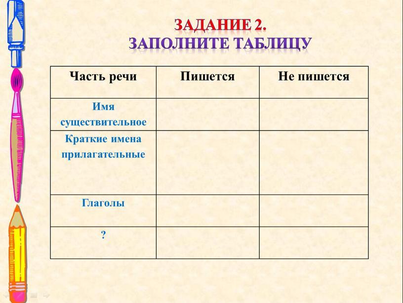 Задание 2. Заполните таблицу Часть речи