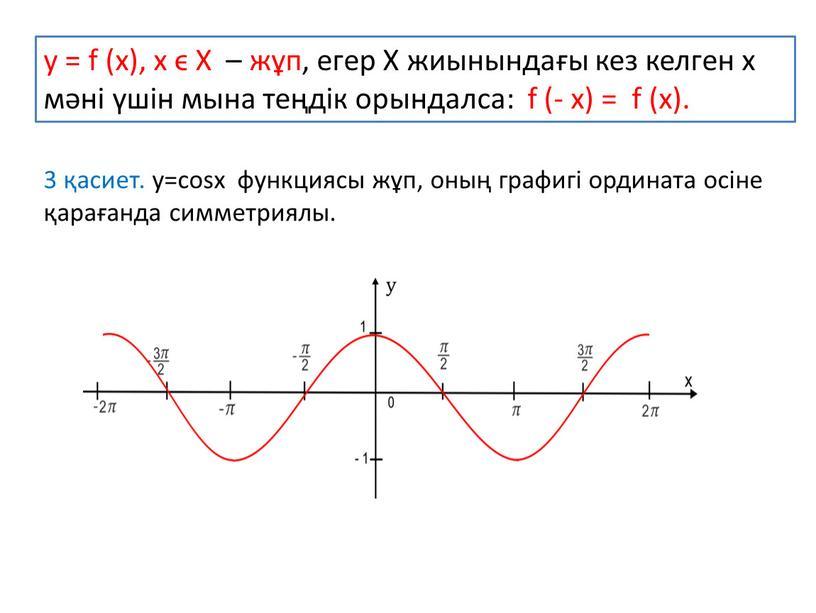 Х – жұп, егер Х жиынындағы кез келген х мәні үшін мына теңдік орындалса: f (- x) = f (x)