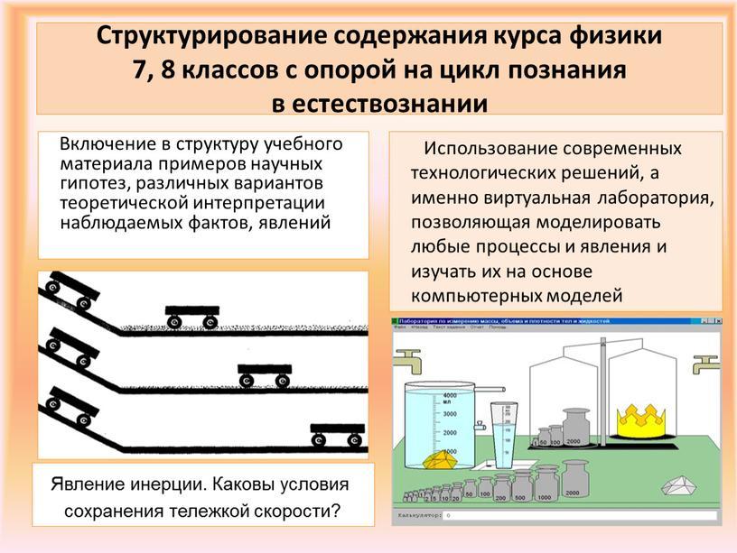 Структурирование содержания курса физики 7, 8 классов с опорой на цикл познания в естествознании